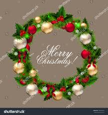 merry christmas card wreath fir branches stock vector 340453364