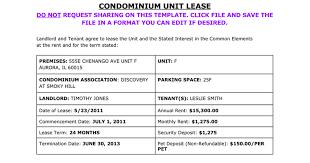 condominium unit lease template google docs