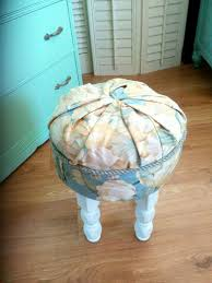 Shabby Chic Footstool by Footstool Hand Built Hand Upholstered Shabby Chic Small Round