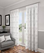Curtains 90 Width 72 Drop Luxury White Lined Voile Curtains 90 Wide X 90 Drop Ebay