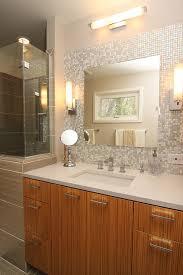 mosaic glass tile back splash vanity contemporary bathroom