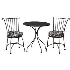 Black Wrought Iron Patio Furniture Sets Outdoor Patio Home Piazza 3 Pc Wrought Iron Black White D