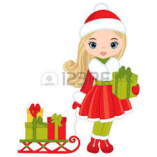 vector cute little girls with christmas gifts vector little