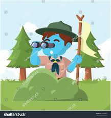 blue boy scout behind bush binocular stock vector 633288407