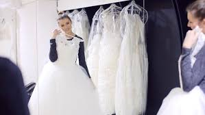 Wedding Dress Store Wedding Dress Fitting In Bridal Store Stock Footage Video 13939037