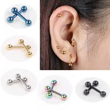 black ear studs 2pcs ear nail bone barbell earring piercing helix ear stud tragus