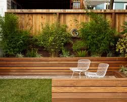 Beautiful Landscape Exterior With Wooden Retaining Walls And Patio - Retaining walls designs