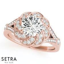 fine engagement rings images 14k fine gold round cut diamond in flower halo engagement ring setra jpg