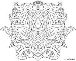 drawing in mehndi style symmetrical lotus flower manual draw