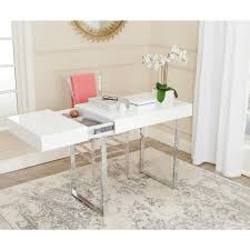 White Desk Safavieh Berkly White And Chrome Desk With Storage Fox2200a The