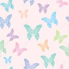 a seamless vector background of butterflies in pastel colours