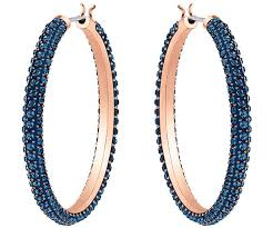 ear rings hoop pierced earrings blue gold plating jewelry