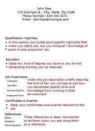 Free Visual Resume Templates Free Bartender Resume Templates Resume Template And Professional