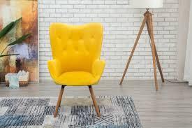 Yellow Chair Roundhill Furniture Doarnin Silky Velvet Tufted Button Back
