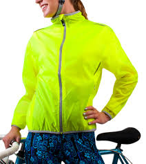 packable waterproof cycling jacket atd windbreaker jacket visibility yellow women