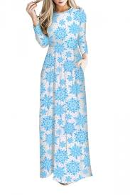 light blue long sleeve dress women long sleeve snowflake christmas themed maxi dresses light blue