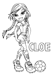 Bratz Coloring Pages Cloe Playing Soccer Coloringstar Bratz Coloring Pages