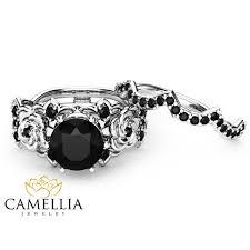 unique engagement ring settings 1 25ct black engagement rings set 14k white gold black