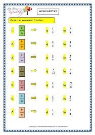grade 3 maths worksheets 7 5 equivalent fractions lets share