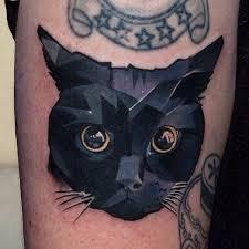 black cat tattoo by halasz matya