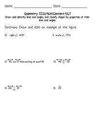 4th Grade Math Geometry Worksheets 4th Grade Common Math Geometry Worksheets Ccss 4 G A 1 Tpt