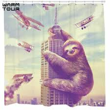 compare prices on creative bath shower curtains online shopping warm tour lovely sloth animal waterproof shower curtain bathroom products creative polyester bath curtain 72 x72