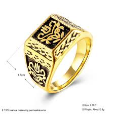 golden flower rings images Seanuo big crown gold color stainless steel wedding rings for men jpg