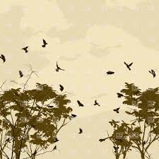 landscape with birds and tree silhouettes vector clipart image