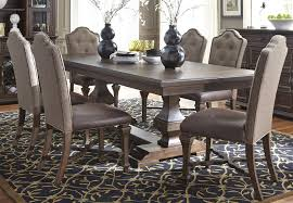 Double Pedestal Dining Room Tables Lucca Dining Brown Double Pedestal Dining Room Set From Liberty