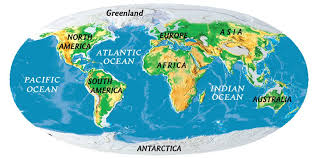 world map oceans seas bays lakes continents national geographic society