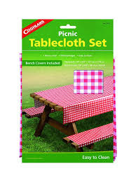 amazon com coghlan u0027s picnic table set with tablecloth and bench