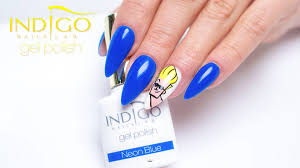 indigo gel polish neon blue johnny bravo design youtube