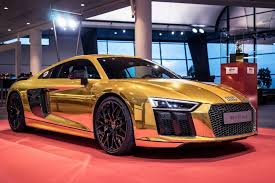 audi r8 ads striking gold this audi r8 v10 plus is fit for a king