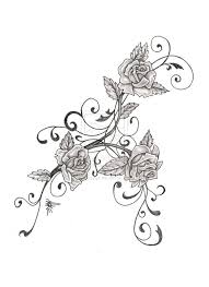 swirls grey rose and banner tattoo designs real photo pictures