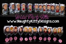 personalized caricature hand painted wine glasses for bridesmaids