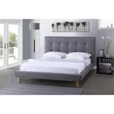 Queen Size Platform Bed Baxton Studio Jonesy Scandinavian Style Mid Century Grey Fabric