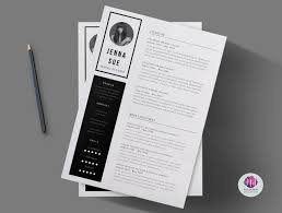 White Font Resume Black U0026 White 2 Page Cv Template Cover Letter Minimal