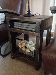 Dark Wood Sofa Table Reclaimed Wood Industrial Rustic End Table Dark Walnut Stain