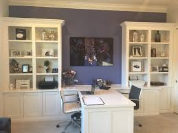 Home Office Double Desk Custom Office With His And Hers Desks And Bookshelves Built Ins