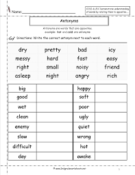 antonyms worksheet reading spelling writing pinterest