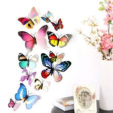12pcs butterfly design 3d wall stickers colorful butterfly