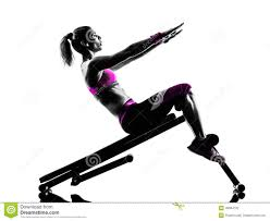 woman fitness bench press crunches exercises silhouette stock