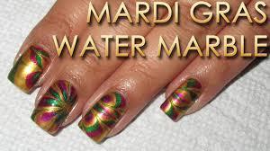 mardi gras material mardi gras water marble diy nail tutorial