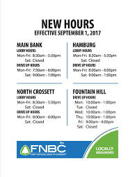 hours fnbc u0027s new branch hours coming soon first national bank of