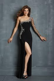 shop top one sleeve column sheath long prom dress black 2014 new