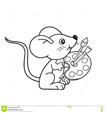 coloring page outline of cartoon little mouse with brushes and