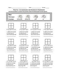 punnett square practice codominance and incomplete dominance by  with punnett square practice codominance and incomplete dominance from teacherspayteacherscom