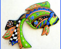 Funky Garden Decor Painted Metal Art Tropical Fish Wall Hanging Whimsical Art