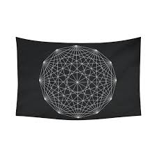 American Flag Tapestry Wall Hanging Interestprint Mandala Logo Line Sacred Geometry Tapestry