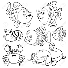ocean fish clipart black and white clipartxtras